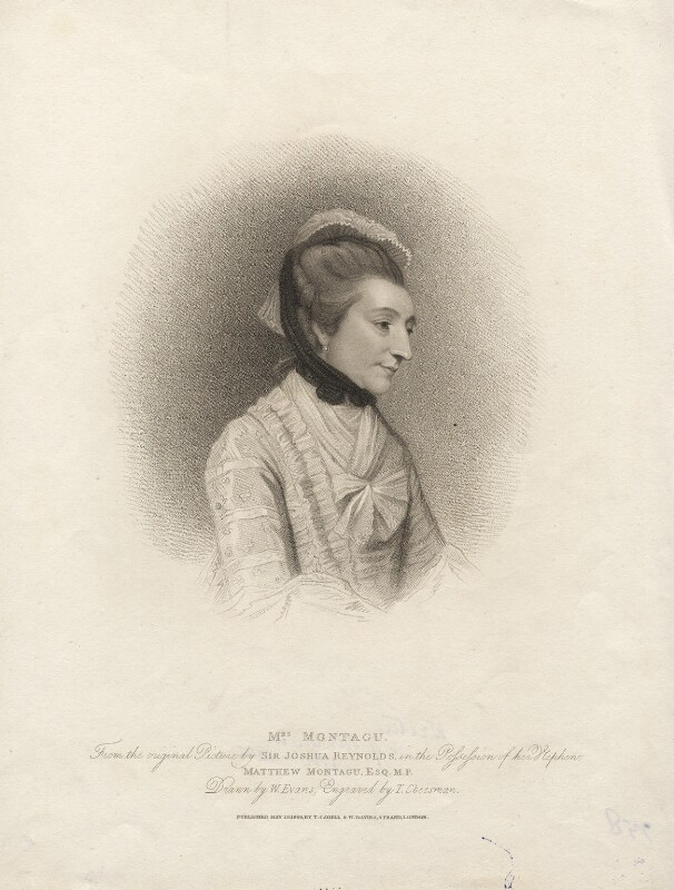 Elizabeth Montagu (née Robinson), by Thomas Cheesman, after  Sir Joshua Reynolds, published 26 May 1809 (1775) - NPG D5284 - © National Portrait Gallery, London