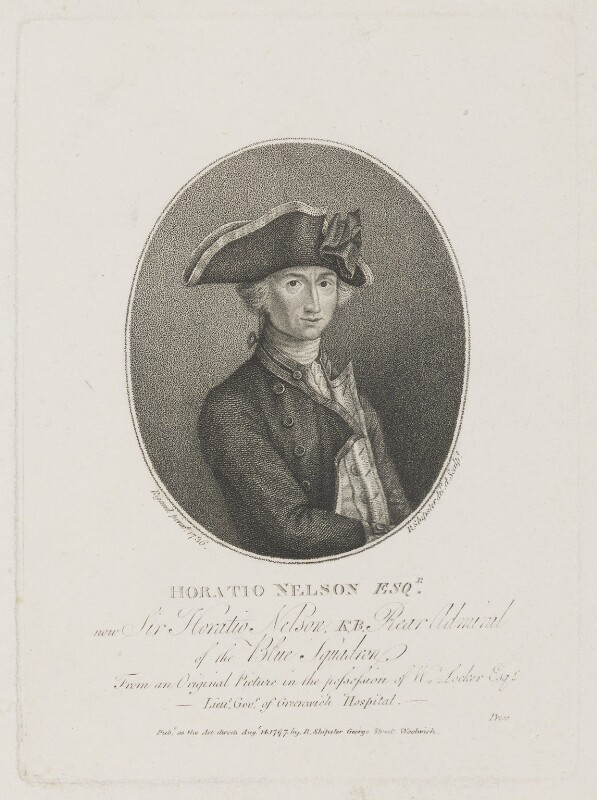 Horatio Nelson, by Robert Shipster, after  John Francis Rigaud, published 14 August 1797 (1781) - NPG D5336 - © National Portrait Gallery, London