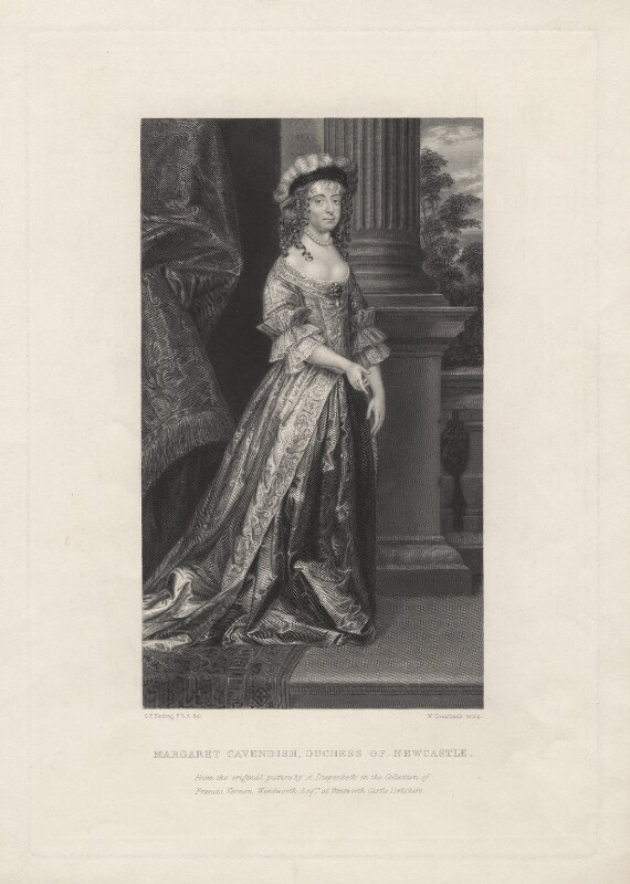 Margaret Cavendish (née Lucas), Duchess of Newcastle upon Tyne, by William Greatbach, after  Abraham Diepenbeeck, published 1846 - NPG D5345 - © National Portrait Gallery, London