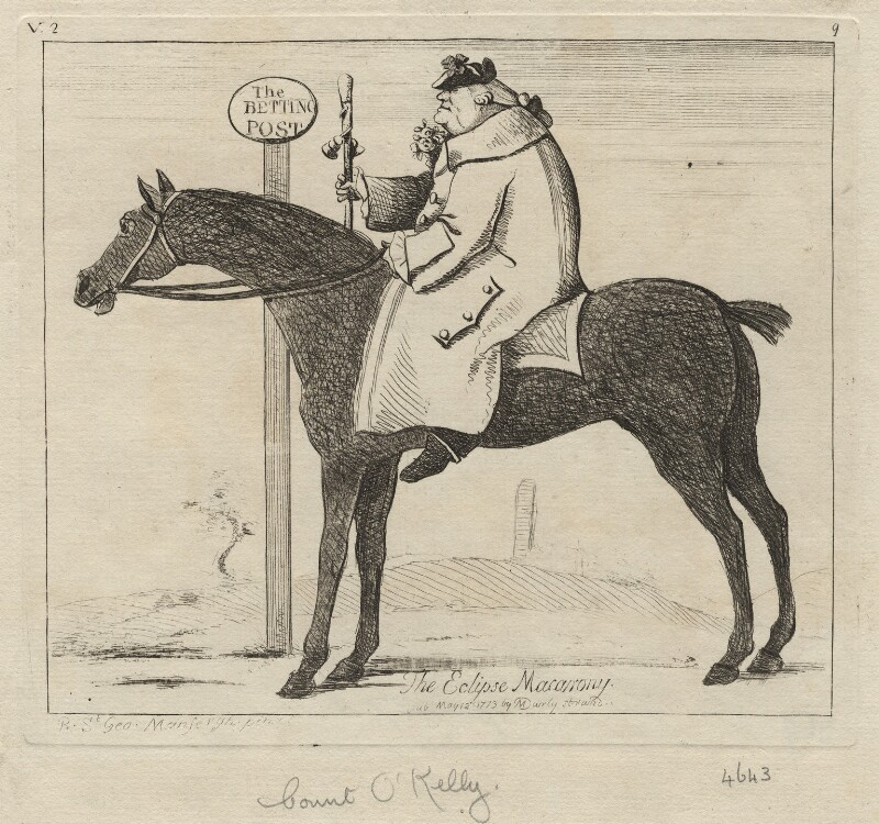 Dennis O'Kelly ('The Eclipse Macarony'), published by Matthew or Matthias Darly, after  Richard St George Mansergh St George, published 12 May 1773 - NPG D5394 - © National Portrait Gallery, London
