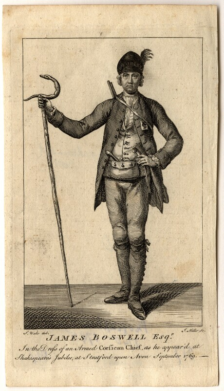 James Boswell in dress of Corsican chief, by J. Miller, after  Samuel Wale, published 1769 - NPG D5416 - © National Portrait Gallery, London
