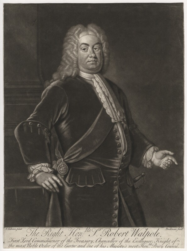Robert Walpole, 1st Earl of Orford, by Gerhard Bockman, after  Thomas Gibson, circa 1727-1742 - NPG D5420 - © National Portrait Gallery, London