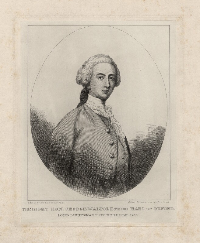 George Walpole, 3rd Earl of Orford, by William Camden Edwards, after  Jean Etienne Liotard, 1844 - NPG D5421 - © National Portrait Gallery, London