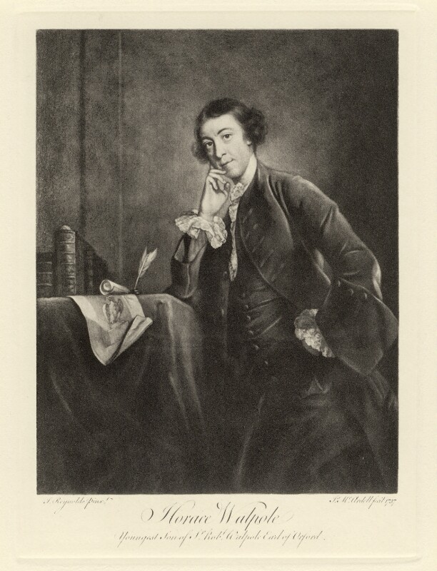 Horace Walpole, after James Macardell, after  Sir Joshua Reynolds, late 19th century (1757) - NPG D5423 - © National Portrait Gallery, London