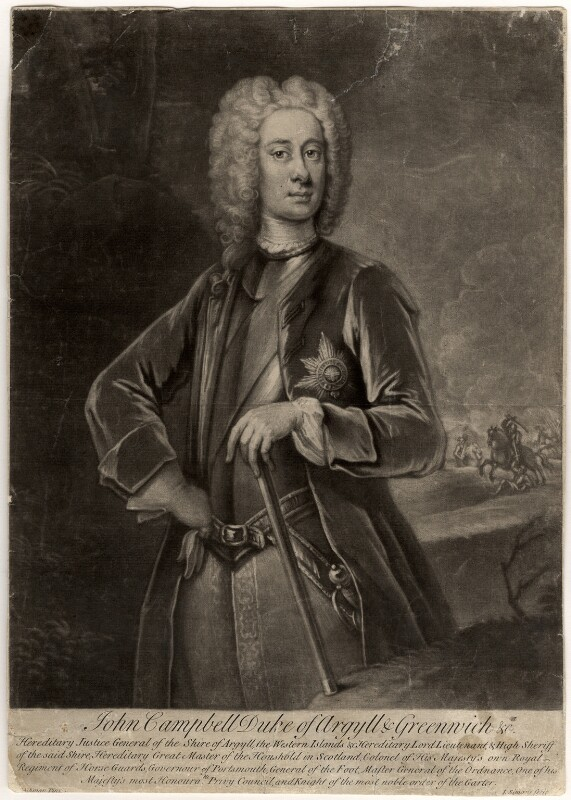 John Campbell, 2nd Duke of Argyll and Greenwich, by John Simon, after  William Aikman, 1719 or after - NPG D545 - © National Portrait Gallery, London