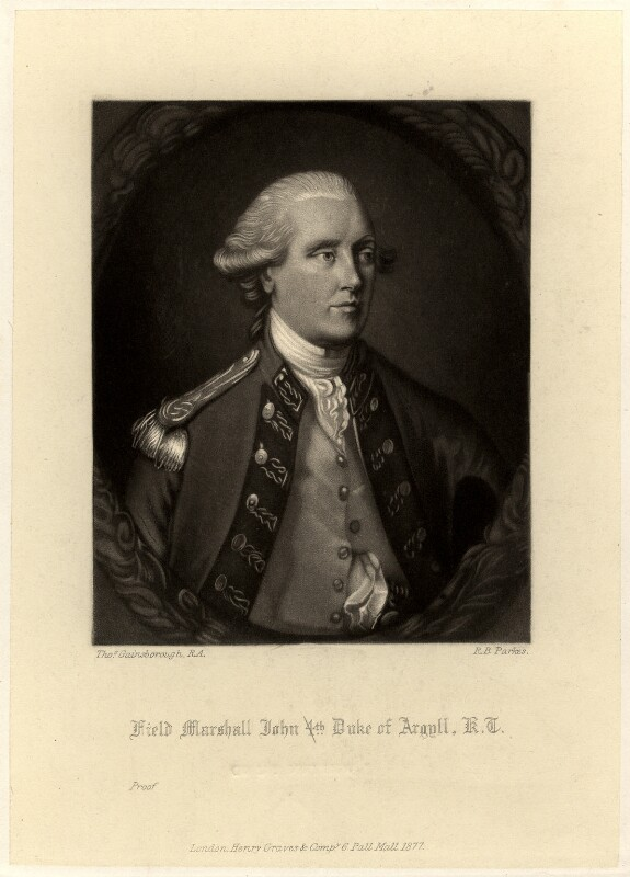 John Campbell, 5th Duke of Argyll, by Robert Bowyer Parkes, after  Thomas Gainsborough, published 1877 - NPG D549 - © National Portrait Gallery, London
