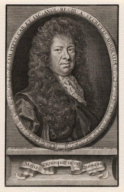 Samuel Pepys, by Robert White, after  Sir Godfrey Kneller, Bt, published 1690 - NPG D5505 - © National Portrait Gallery, London
