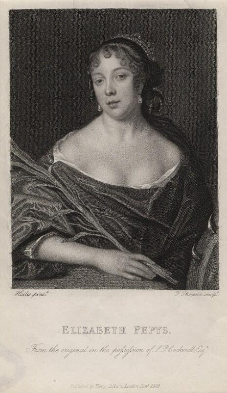 Elizabeth Pepys, by James Thomson (Thompson), after  John Hayls, published January 1828 - NPG D5507 - © National Portrait Gallery, London