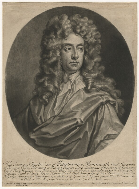 Charles Mordaunt, 3rd Earl of Peterborough, by John Simon, after  Sir Godfrey Kneller, Bt, (1705) - NPG D5514 - © National Portrait Gallery, London
