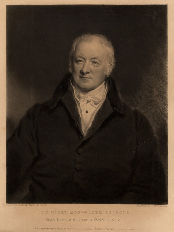 James Scarlett, 1st Baron Abinger, by Henry Cousins, after  Sir Martin Archer Shee, published March 1837 - NPG D5608 - © National Portrait Gallery, London
