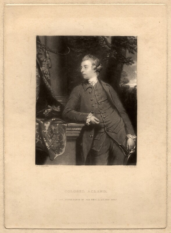 John Dyke Acland, by Samuel William Reynolds, after  Sir Joshua Reynolds, published 1838 - NPG D5613 - © National Portrait Gallery, London