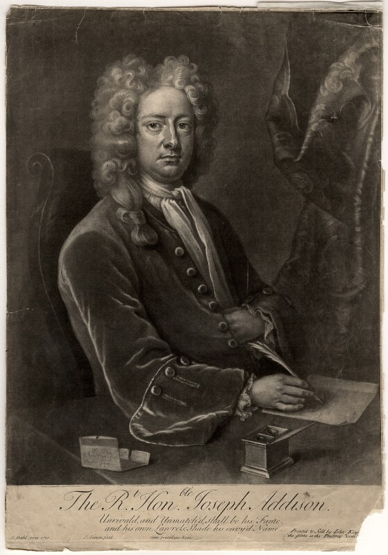 Joseph Addison, by John Simon, after  Michael Dahl, (1719) - NPG D5618 - © National Portrait Gallery, London