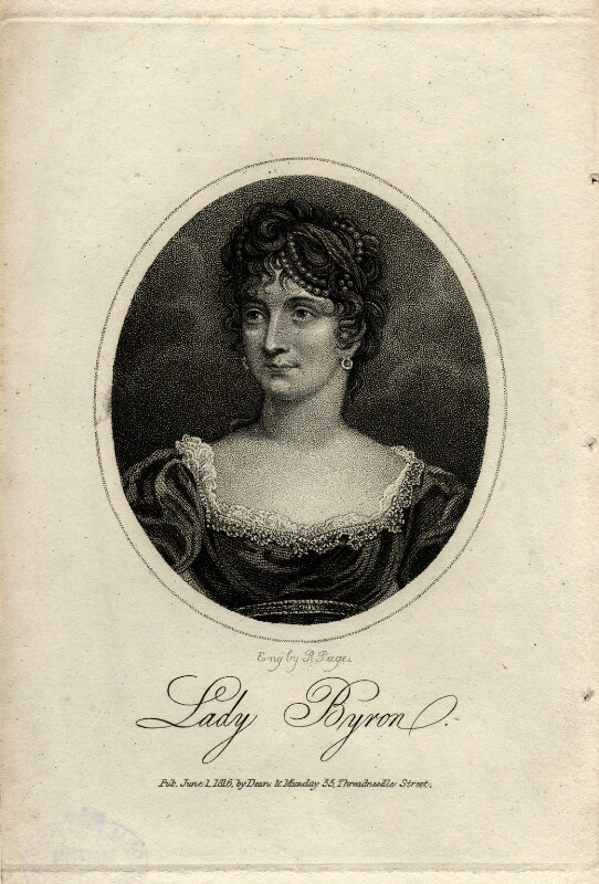 Anne Isabella, Lady Byron, by R. Page, published by  Dean & Munday, published 1 June 1816 - NPG D5631 - © National Portrait Gallery, London