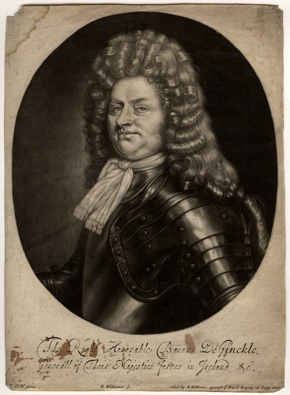 Godard van Reede-Ginckel, 1st Earl of Athlone, by Robert Williams, after  Thomas Hill, 1690-1691 - NPG D566 - © National Portrait Gallery, London