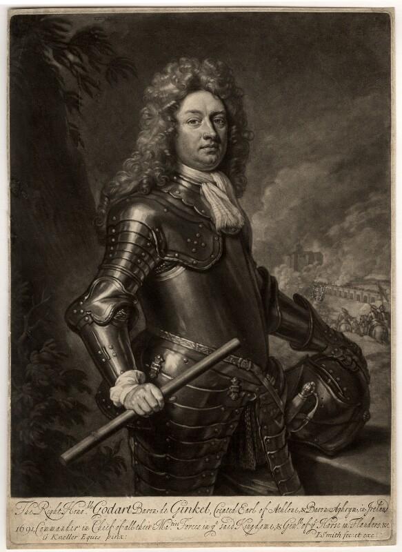 Godard van Reede-Ginckel, 1st Earl of Athlone, by John Smith, after  Sir Godfrey Kneller, Bt, 1692 (1692) - NPG D567 - © National Portrait Gallery, London