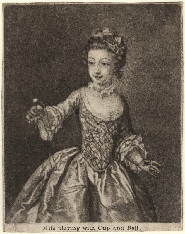 Charlotte Mercier ('Miss playing with Cup and Ball'), after Philip Mercier, 1740s-1750s - NPG D5676 - © National Portrait Gallery, London