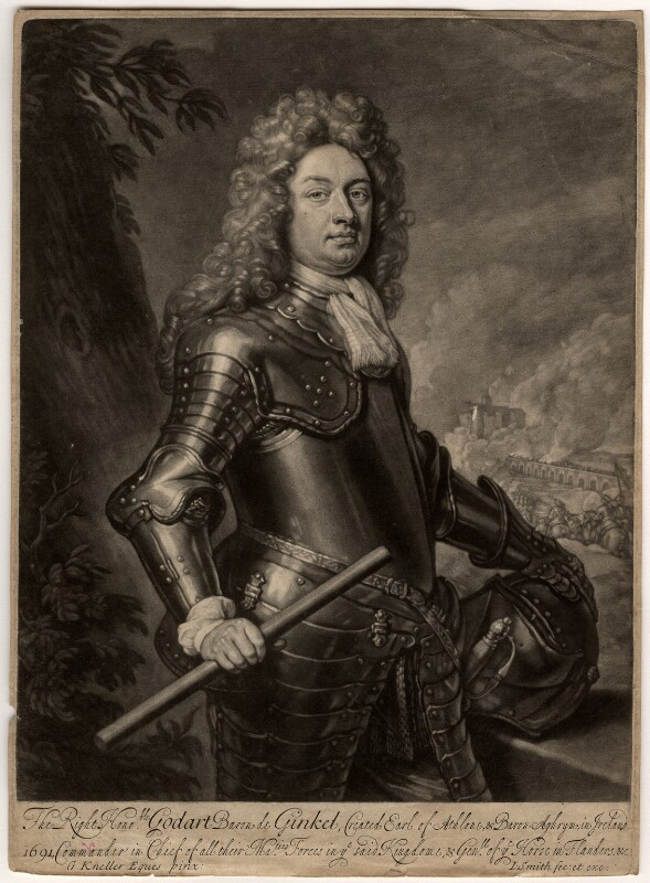 Godard van Reede-Ginckel, 1st Earl of Athlone, by John Smith, after  Sir Godfrey Kneller, Bt, 1692 (1692) - NPG D568 - © National Portrait Gallery, London