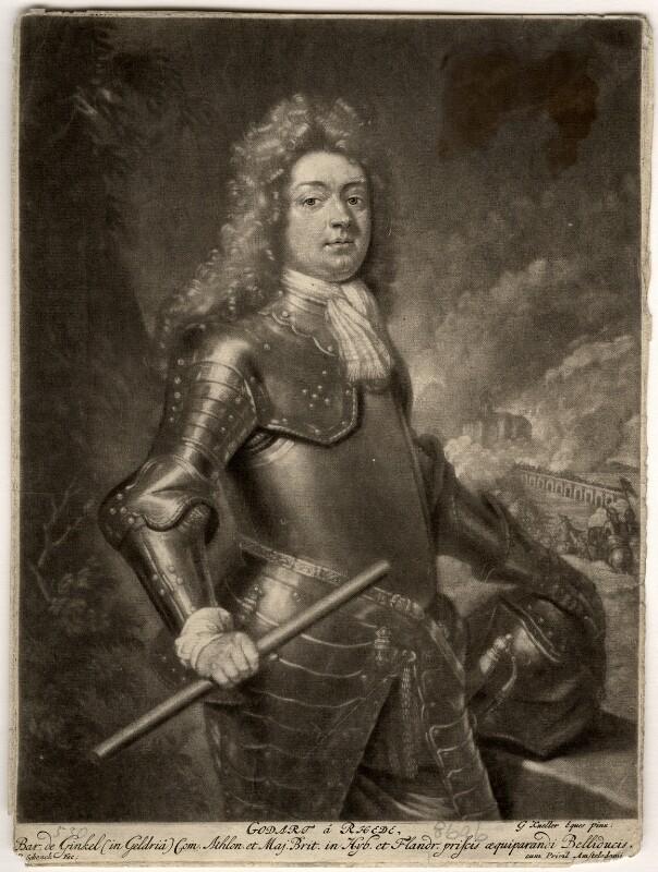 Godard van Reede-Ginckel, 1st Earl of Athlone, by Pieter Schenck, after  Sir Godfrey Kneller, Bt, 1692 (1692) - NPG D569 - © National Portrait Gallery, London