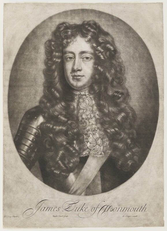 James Scott, Duke of Monmouth and Buccleuch, by Jan van der Vaart, published by  Edward Cooper, after  Willem Wissing, late 17th century (1683) - NPG D5697 - © National Portrait Gallery, London