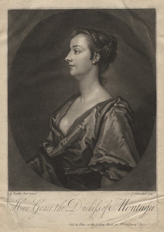 Mary Montagu (née Churchill), Duchess of Montagu, by and sold by John Faber Jr, after  Sir Godfrey Kneller, Bt, 1740 - NPG D5700 - © National Portrait Gallery, London