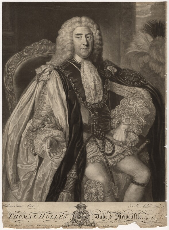 Thomas Pelham-Holles, 1st Duke of Newcastle-under-Lyne, by James Macardell, after  William Hoare, mid 18th century - NPG D5716 - © National Portrait Gallery, London