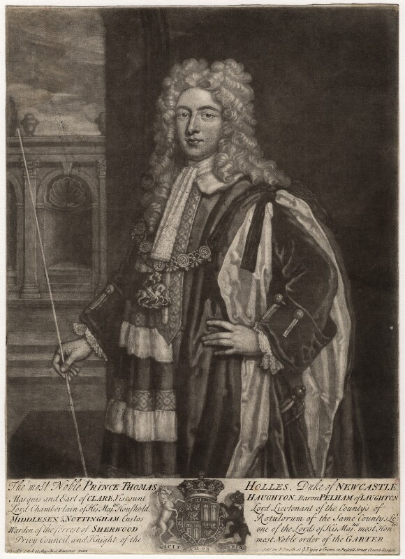 Thomas Pelham-Holles, 1st Duke of Newcastle-under-Lyne, by John Faber Jr, published by  John Smith, after  Sir Godfrey Kneller, Bt, circa 1718-1724 - NPG D5717 - © National Portrait Gallery, London