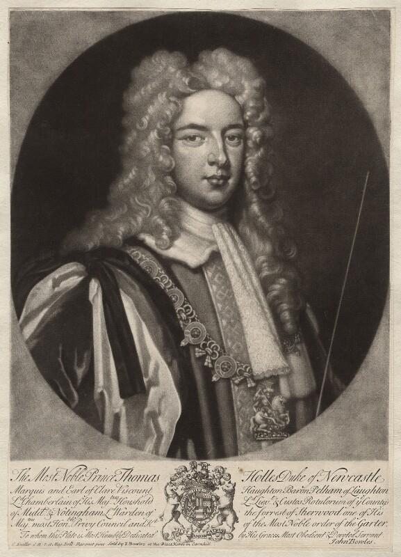 Thomas Pelham-Holles, 1st Duke of Newcastle-under-Lyne, by Peter Pelham, published by  John Bowles, after  Sir Godfrey Kneller, Bt, circa 1718-1724 - NPG D5718 - © National Portrait Gallery, London