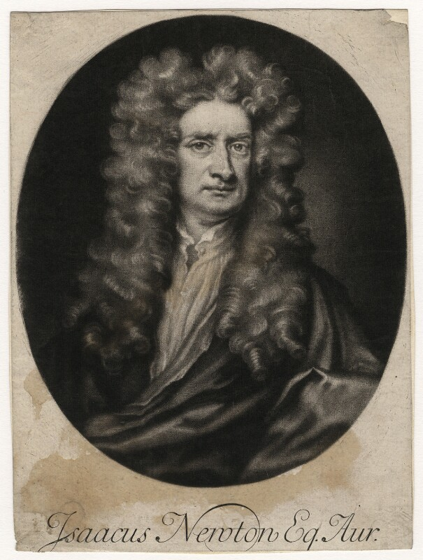 Sir Isaac Newton, by John Simon, after  Sir Godfrey Kneller, Bt, early 18th century (1702) - NPG D5719 - © National Portrait Gallery, London