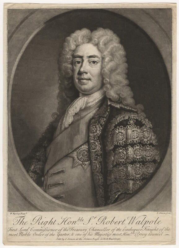Robert Walpole, 1st Earl of Orford, by and published by John Simon, after  Hans Hysing, circa 1727-1742 - NPG D5724 - © National Portrait Gallery, London