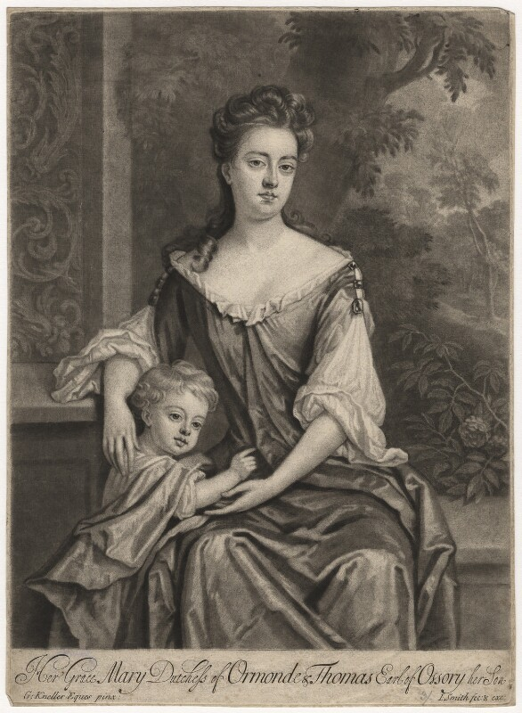 Mary Butler (née Somerset), Duchess of Ormonde and her son Thomas, Earl of Ossory, by and published by John Smith, after  Sir Godfrey Kneller, Bt, circa 1693 - NPG D5730 - © National Portrait Gallery, London