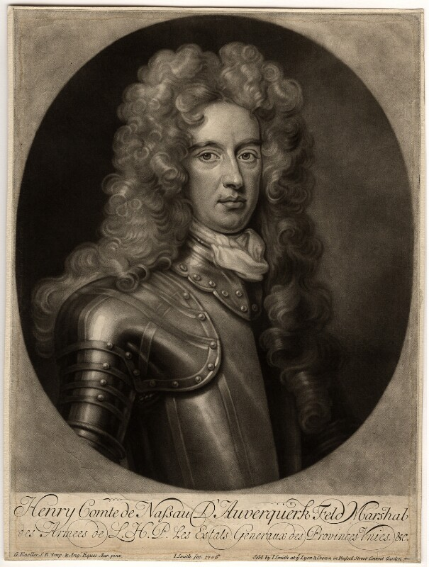 Henry Nassau, Count of Auverquerque, by and published by John Smith, after  Sir Godfrey Kneller, Bt, 1706 - NPG D574 - © National Portrait Gallery, London