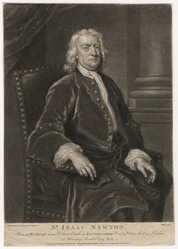 Sir Isaac Newton, by John Faber Jr, after  John Vanderbank, (1725) - NPG D5748 - © National Portrait Gallery, London