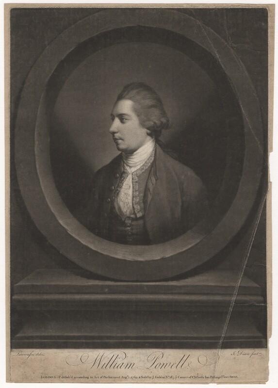 William Powell, by John Dixon, after  Thomas Lawranson, published 1769 - NPG D5751 - © National Portrait Gallery, London