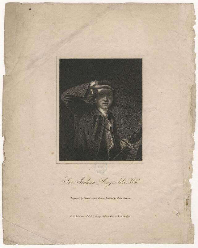 Sir Joshua Reynolds, by Robert Cooper, published by  Henry Colburn, after  John Jackson, after  Sir Joshua Reynolds, published 24 June 1813 (circa 1747-1749) - NPG D5804 - © National Portrait Gallery, London