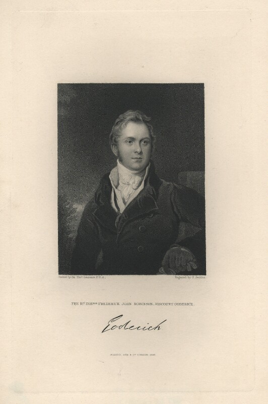 Frederick John Robinson, 1st Earl of Ripon, by Joseph John Jenkins, published by  Fisher Son & Co, after  Sir Thomas Lawrence, published 1830 (circa 1823) - NPG D5820 - © National Portrait Gallery, London