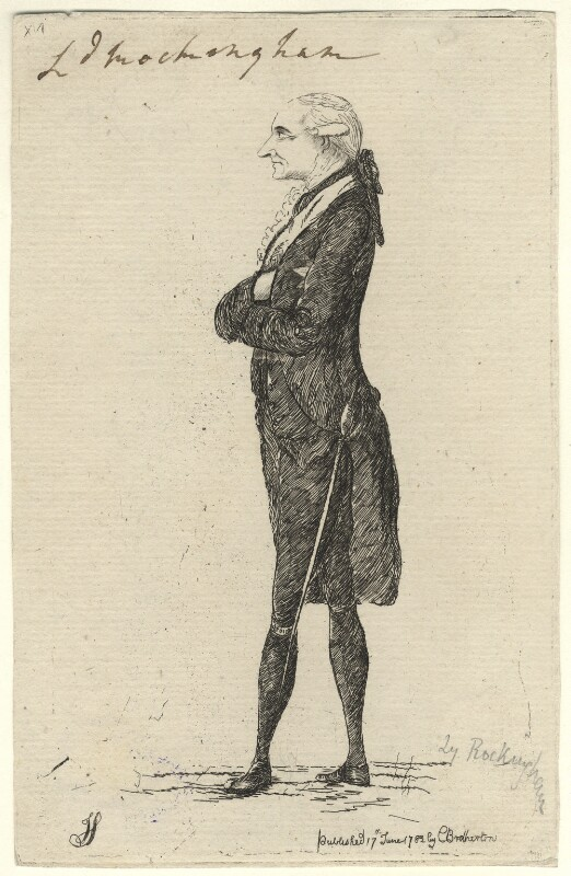 Charles Watson-Wentworth, 2nd Marquess of Rockingham, by James Sayers, published by  Charles Bretherton, published 17 June 1782 - NPG D5830 - © National Portrait Gallery, London