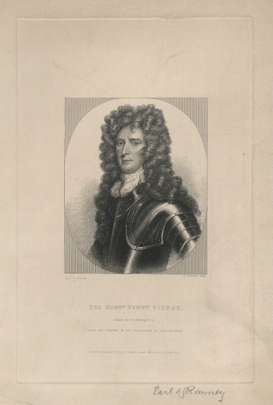 Henry Sidney, Earl of Romney, by Samuel Freeman, published by  Henry Colburn, after  George Perfect Harding, after  Sir Peter Lely, published 1843 - NPG D5836 - © National Portrait Gallery, London