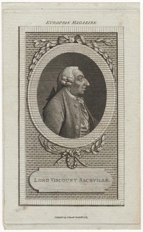George Sackville Germain, 1st Viscount Sackville, published by John Sewell, published 1785 - NPG D5874 - © National Portrait Gallery, London