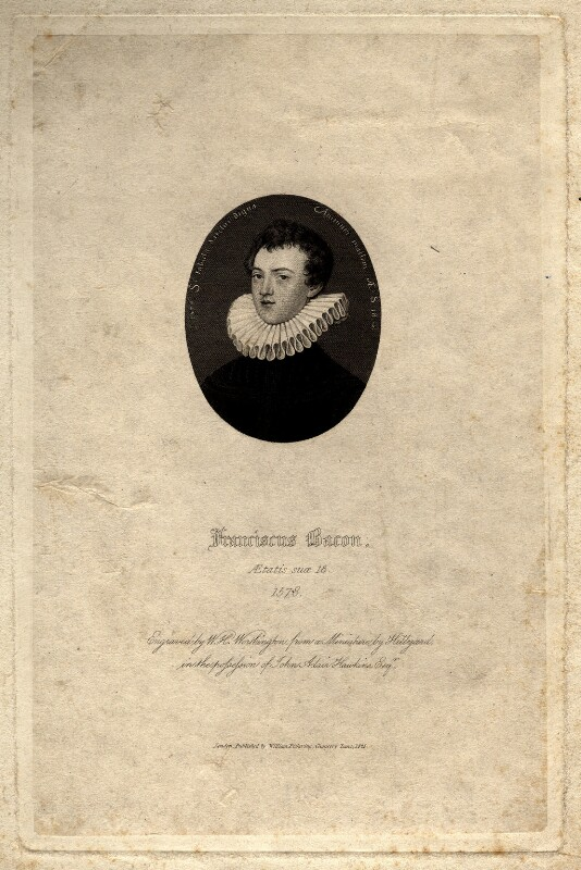 Francis Bacon, 1st Viscount St Alban, by William Henry Worthington, published by  William Pickering, after  Nicholas Hilliard, published 1825 - NPG D5880 - © National Portrait Gallery, London
