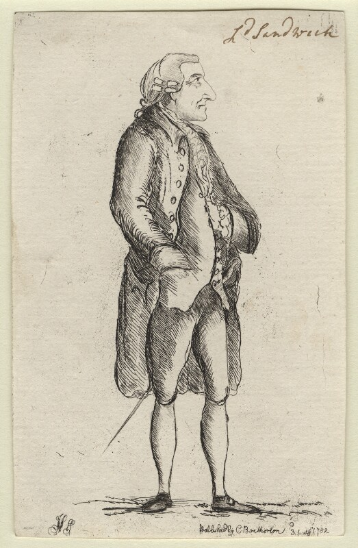 John Montagu, 4th Earl of Sandwich, by James Sayers, published by  Charles Bretherton, published 3 July 1782 - NPG D5900 - © National Portrait Gallery, London
