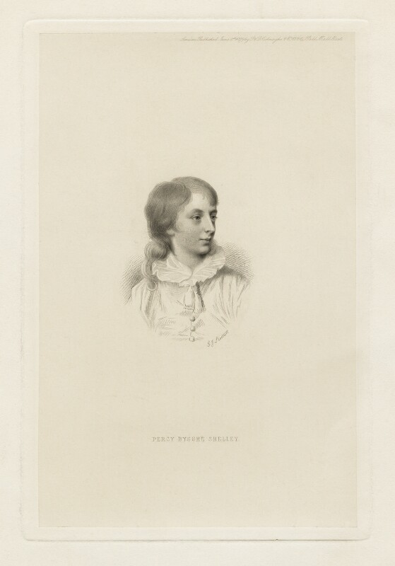 Percy Bysshe Shelley, by George J. Stodart, after  Antoine Philippe, duc de Montpensier, published 1879 - NPG D5955 - © National Portrait Gallery, London