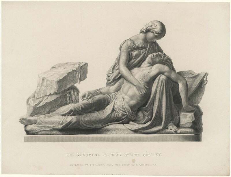 Mary Wollstonecraft Shelley; Percy Bysshe Shelley, by George J. Stodart, after a monument by  Henry Weekes, (1853) - NPG D5956 - © National Portrait Gallery, London