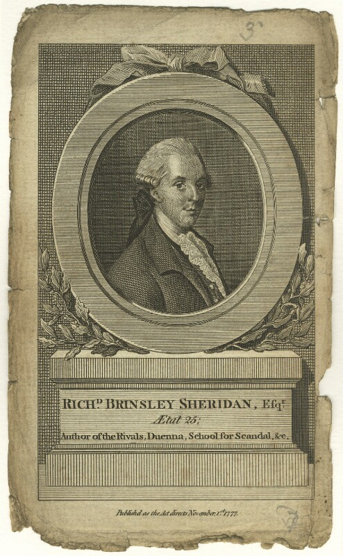 Richard Brinsley Sheridan, by Unknown artist, published 1 November 1777 - NPG D5967 - © National Portrait Gallery, London