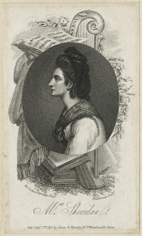 Elizabeth Ann Sheridan (née Linley), by Charles Middlemist, published by  Dean & Munday, after  Sir Joshua Reynolds, published 1 September 1816 - NPG D5969 - © National Portrait Gallery, London