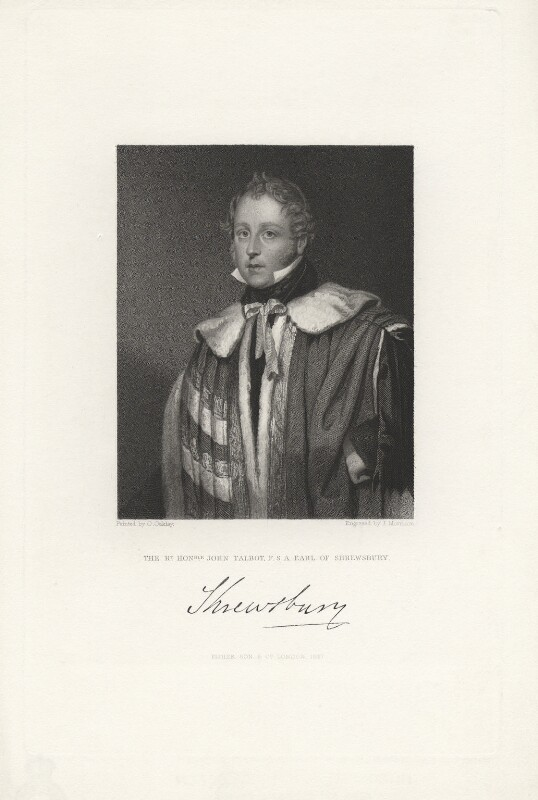 John Talbot, 16th Earl of Shrewsbury, by J. Morrison, published by  Fisher Son & Co, after  Octavius Oakley, published 1847 - NPG D5982 - © National Portrait Gallery, London