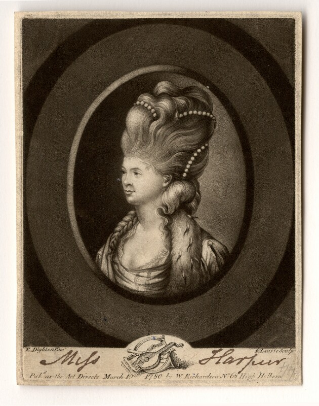Elizabeth Bannister (née Harpur), by Robert Laurie, after  Robert Dighton, published 1780 - NPG D624 - © National Portrait Gallery, London