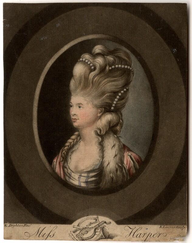 Elizabeth Bannister (née Harpur), by Robert Laurie, after  Robert Dighton, published 1780 - NPG D625 - © National Portrait Gallery, London