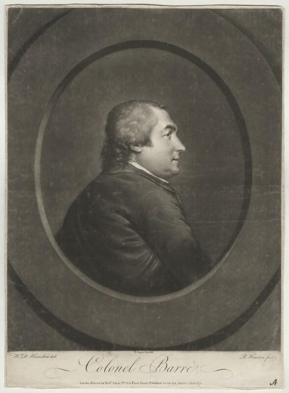 Isaac Barré, by Richard Houston, after  Hugh Douglas Hamilton, published 1771 - NPG D640 - © National Portrait Gallery, London