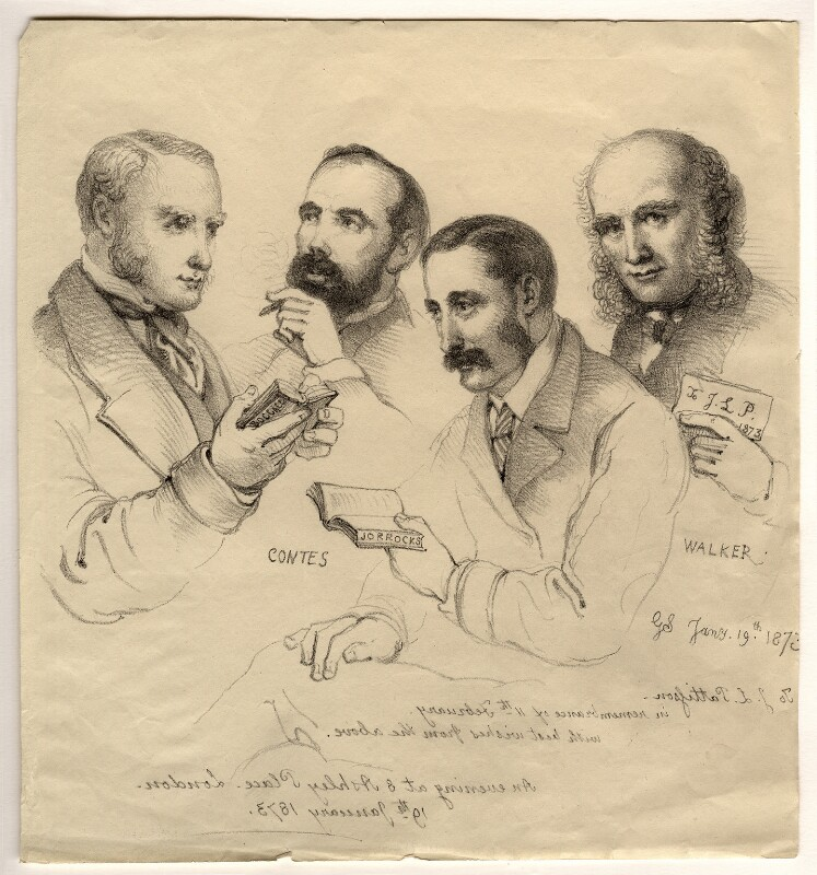 Sir George Scharf and friends, by Sir George Scharf, 1873 - NPG D6712 - © National Portrait Gallery, London
