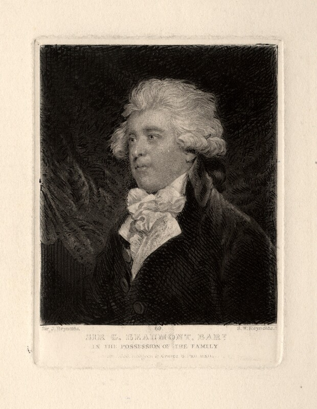 Sir George Howland Beaumont, 7th Bt, by Samuel William Reynolds, after  Sir Joshua Reynolds, published 1838 - NPG D673 - © National Portrait Gallery, London